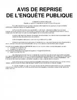 PLU – Avis de reprise de l'enquête publique